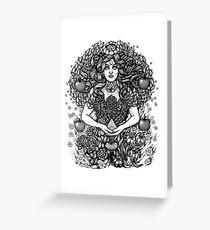 Divine Mother Gea Tree / BW Greeting Card