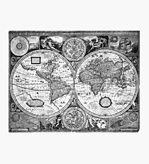 Black and White World Map (1651) Photographic Print