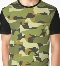 Distressed Camo Dachshund Silhouettes  Graphic T-Shirt