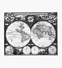 Black and White World Map (1665) Photographic Print