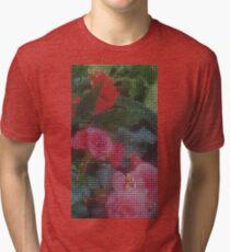 Mosaic Style Pink Flower Tiles Tri-blend T-Shirt