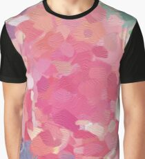 Oil Paint Pink Flower Graphic T-Shirt