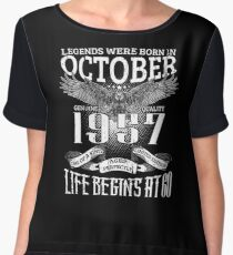 60th Birthday Gift Legends Were Born In October 1957 Women's Chiffon Top