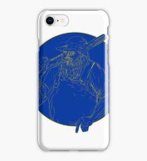 Bearded Hunter Holding Rifle Circle Woodcut iPhone Case/Skin