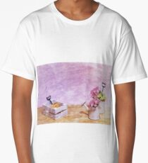 Oil Painting; Miniature Gardening Kit with Pink Background Long T-Shirt