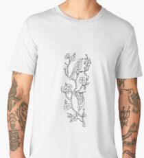 Birds on Branch of Sakura Cherry Blossoms Low Poly Men's Premium T-Shirt