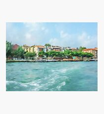 Oil Painting; The Landscape View of Canal and City in Venice, Italy Photographic Print