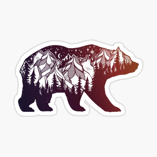 New York State Shaped Bear Print Sticker Grizzly Track Polar Ourdoor