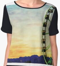 Oil Painting; Detail And Silhouette of Ferris Wheel with Sun Set Women's Chiffon Top