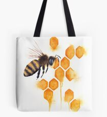 Honey Bee Watercolor Tote Bag