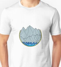 Rugged Mountain Range Waves Circle Monoline Unisex T-Shirt