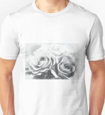 Charcoal Drawing; A Gift of Preservrd Flower and Clay Flower Arrangement, Blue and Pink Roses T-Shirt