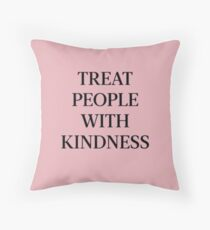 Treat People With Kindness (Black/Pink) Throw Pillow