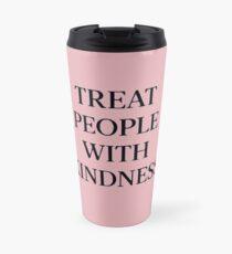 Behandle Menschen mit Freundlichkeit (Schwarz / Pink) Thermosbecher