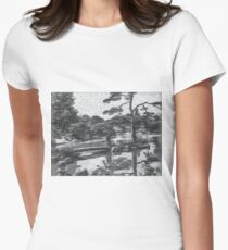 Charcoal Drawing; The Japanese Garden at Katsura Imperial Villa in Kyoto, Japan Women's Fitted T-Shirt