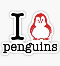 I Love Penguins (red & black) Sticker
