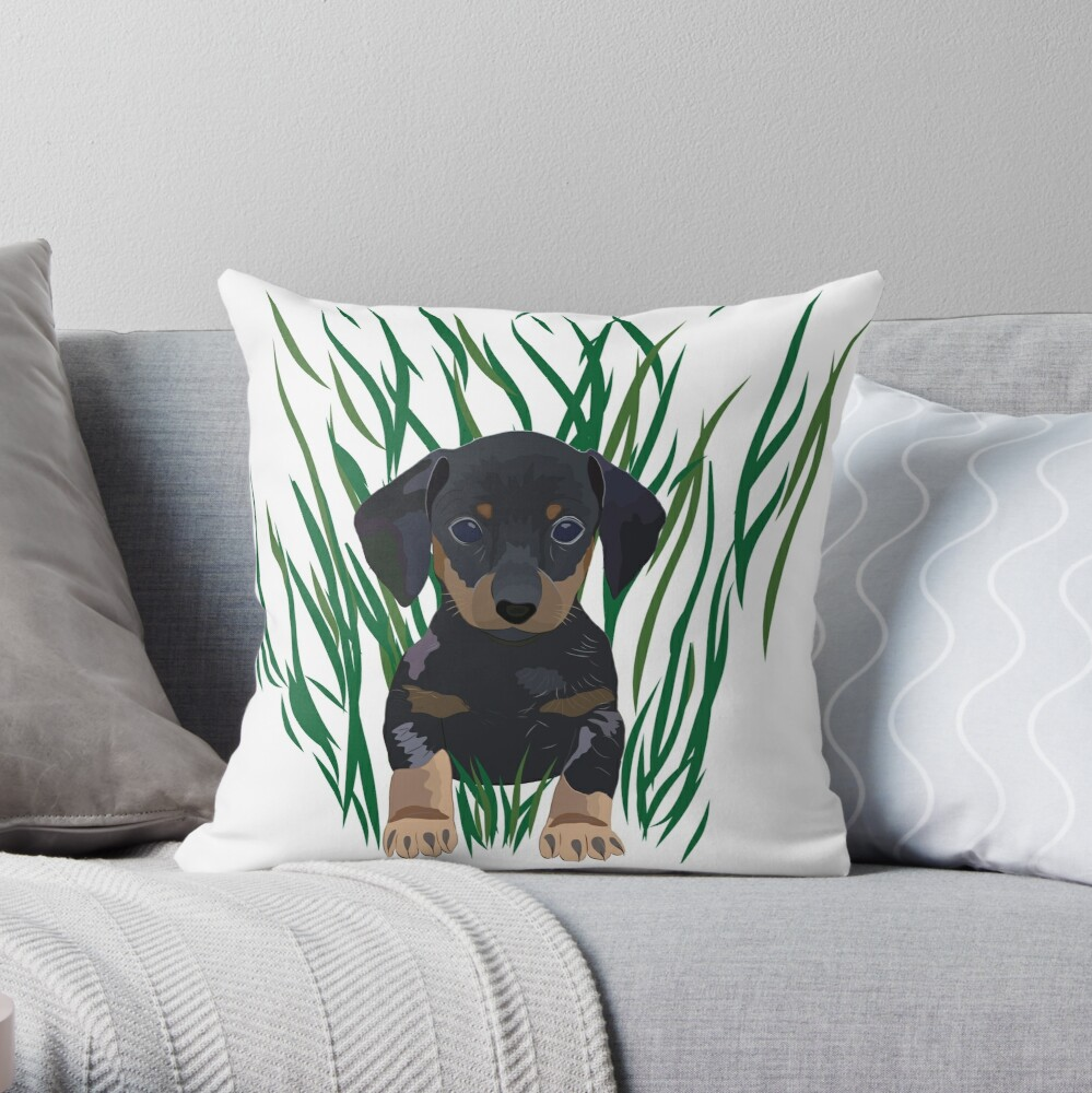 Quot Sausage Dog Design Quot Throw Pillow By Mybloomingbook