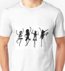 Four abstract dancers, ink painting with enhanced contrast. Unisex T-Shirt