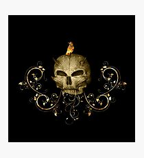 Golden skull with crow  Photographic Print
