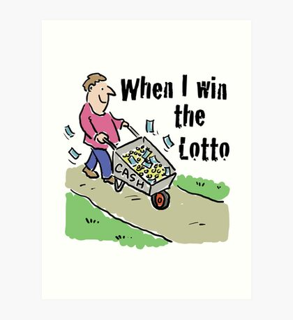Lottery Winning Design Man with Barrow of Cash Art Print