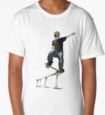 SKELETON SKATER- Street Punk extreme sports Skull n Bones Long T-Shirt