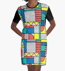 Memphis Color Block Graphic T-Shirt Dress