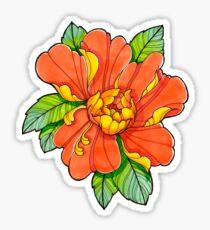 Orange Peony  Sticker