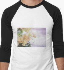 Watercolor Painting; Close Up of Orange Begonia Under Soft Sunlight Men's Baseball ¾ T-Shirt