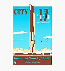 City 17 Travel Poster (blue) Photographic Print
