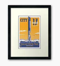 City 17 Travel Poster (orange) Framed Print
