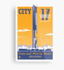 City 17 Travel Poster (orange) Metal Print