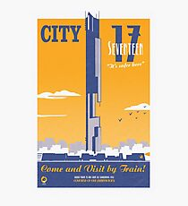 City 17 Travel Poster (orange) Photographic Print