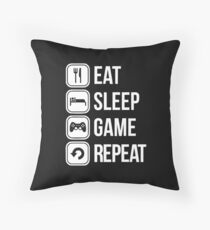 Eat Sleep Game Repeat Throw Pillow