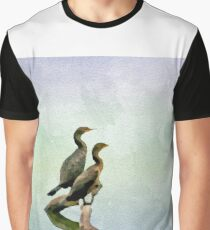 Watercolor Painting; The Double-Crested Cormorant on the Water at Malibu Beach in August Graphic T-Shirt