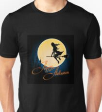 Happy Halloween poster with witch on a broom T-Shirt