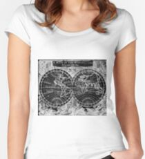 Black and White World Map (1682) Inverse Women's Fitted Scoop T-Shirt