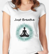 Just Breathe Meditation Women's Fitted Scoop T-Shirt