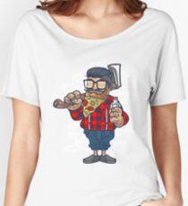 PIZZA BEARD LUMBERJACK HIPSTER DESIGN Women's Relaxed Fit T-Shirt