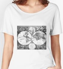 Black and White World Map (1690) Women's Relaxed Fit T-Shirt