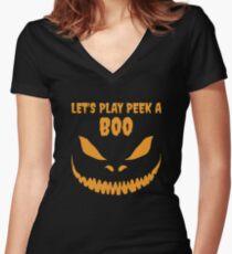 Halloween: Peek A Boo Women's Fitted V-Neck T-Shirt