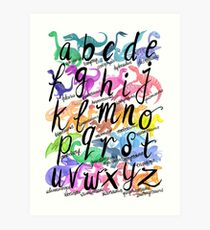 Roarsome Rainbow Dinosaur Alphabet Art Print