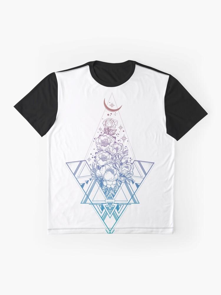 Vista alternativa de Camiseta gráfica Geometría sagrada floral // Peonías del arco iris