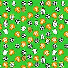 Cartoon Footballs, Orange Gold Shirts, & Fans by Nigel Sutherland