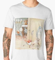 DISH and SPOON, and other utensils are anthropomorphized while a cat in a red jacket holds a fiddle in the manner of a string bass. Randolph Caldecott,  Men's Premium T-Shirt