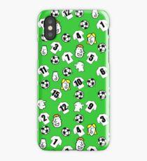 Cartoon Footballs, White Shirts, & Fans iPhone Case/Skin