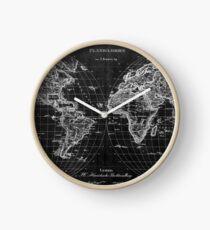 Black and White World Map (1827) Inverse Clock