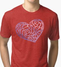 Heart from paper Valentines day card vector background Tri-blend T-Shirt