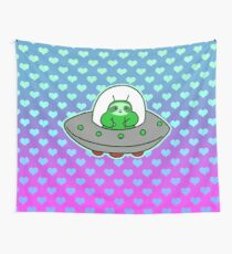 Alien UFO Sloth - Ombre Hearts Wall Tapestry