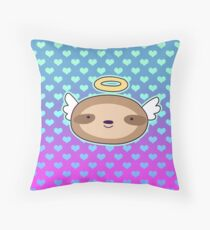 Angel Face Sloth - Ombre Hearts Pattern Throw Pillow