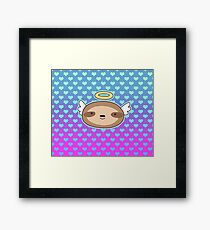 Angel Face Sloth - Ombre Hearts Pattern Framed Print